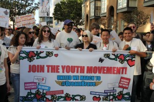 Cynthia Germanotta, co-founder of the Born This Way Foundation and Dr. Robert Ross, President and CEO of the California Endowment marched together during the #DREAMBRAVE rally./Photo by FABIAN GONZALEZ/South Kern Sol