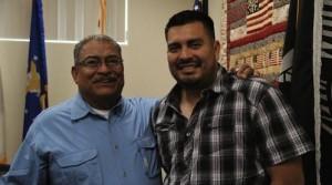 Above: Vietnam veteran Joe Acosta and Iraq war veteran Wesley León-Barrientos at the Bakersfield Veterans Center / photo: Alfredo Camacho